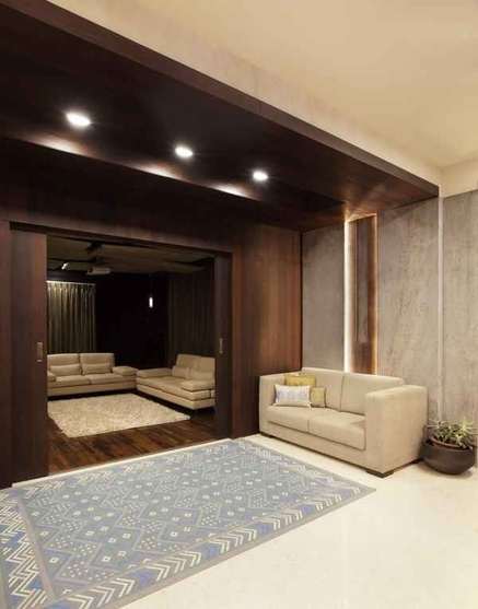 Wooden Partition separates two living area