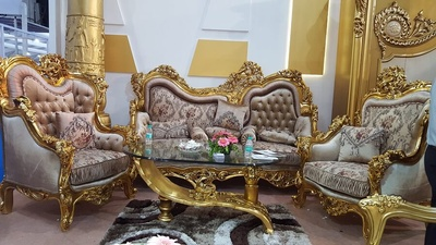 Luxury handcrafted gold leaf sofa