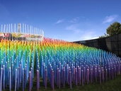 Rainbow tones accentuated the temple pavilion