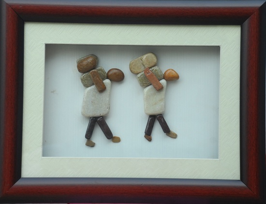 Natural Pebble Stone Art – Two Persons Carrying Weight