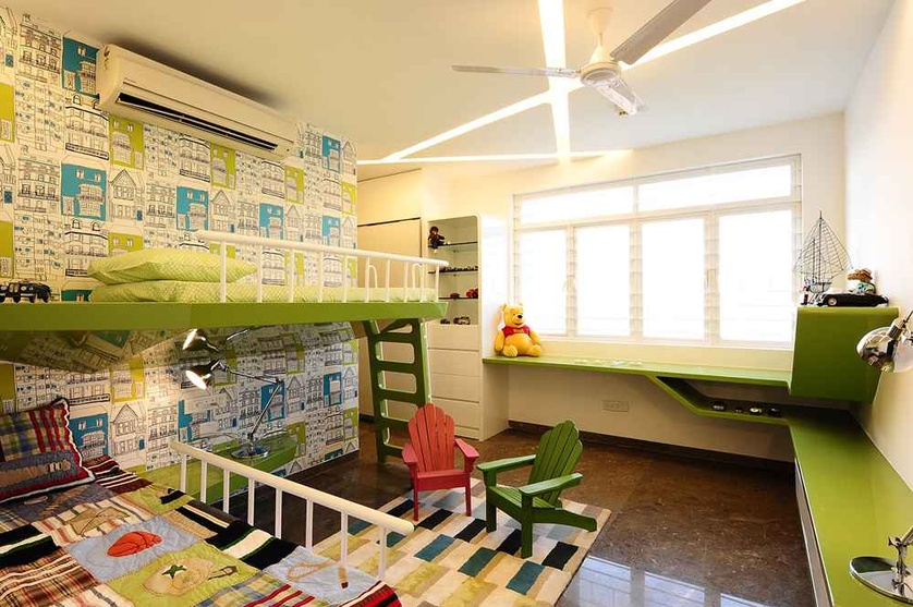 Green Themed Kids Bedroom