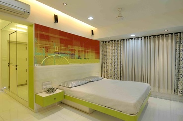 Modern Bedroom in Red and Yellow