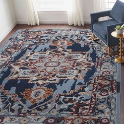 Hand Tufted Tuscany Traditional Area Rug 5'x 8' (Blue Sapphire) For Living/Drawing/Bedroom