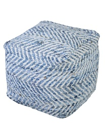 Sandy Denim & Chenille Poufs