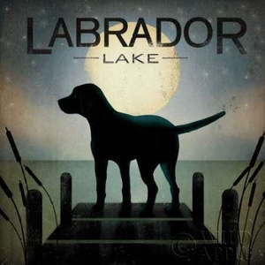 Moonrise Black Dog - Labrador Lake Poster
