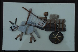 Natural Pebble Stone Art – Man on the Bullock Cart