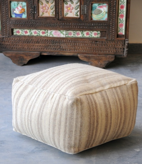 Marble Hand Woven Wool Poufs