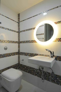 Neon Mirror Frame in Bathroom