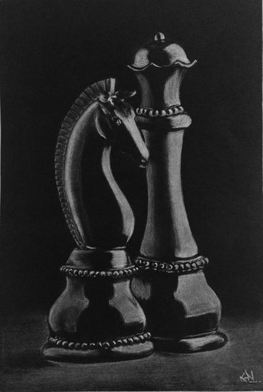 Chess Charcoal Sketch Art