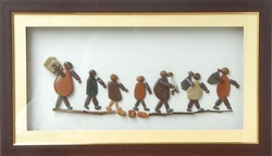 People Walking – Wooden Framed Natural Pebble Stone Art