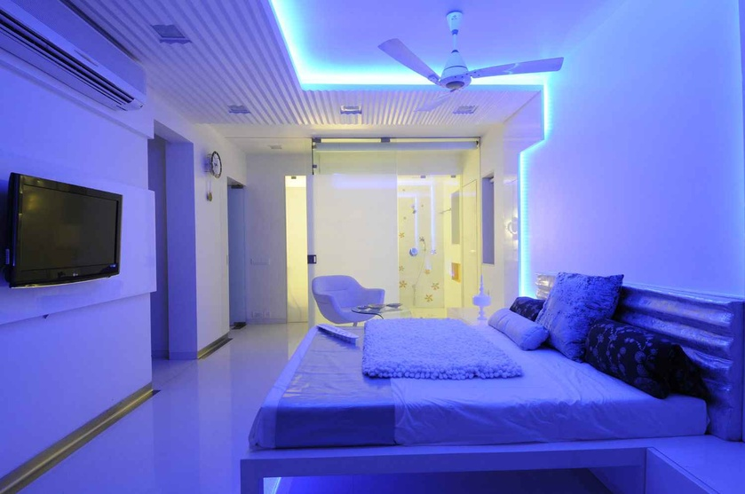 White Master Bedroom in Indigo Light