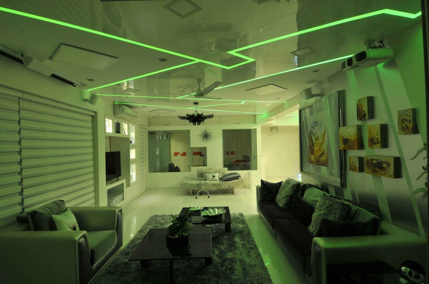 Modern White Living Room in Green Light