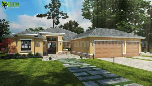 Small House Design Ideas Front Exterior Rendering by Yantram architectural visualisation studio Atlanta