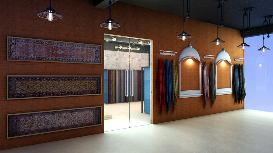 A display wall features rugs complimented by Indian architectural features.