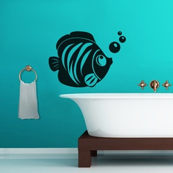 Fish With Bubble Wall Decal ( KC153 )