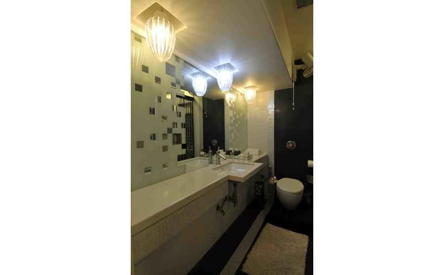 White Master Bathroom with Mounted Ceiling Lights