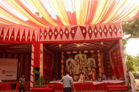 Durga puja pandal decoration ideas themes pictures photos durga puja panadal in huda park sector 43 gurgaon thecheapjerseys Images
