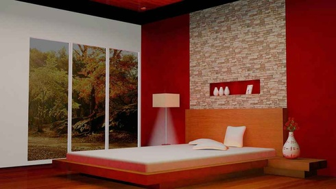 Modern Red Bedroom