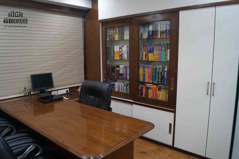 Main Cabin Table Design Table chairs Book Storage Design File Storage High Tieds Interior Design Ahmedabad