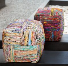 Silk Block Recycled Silk Poufs