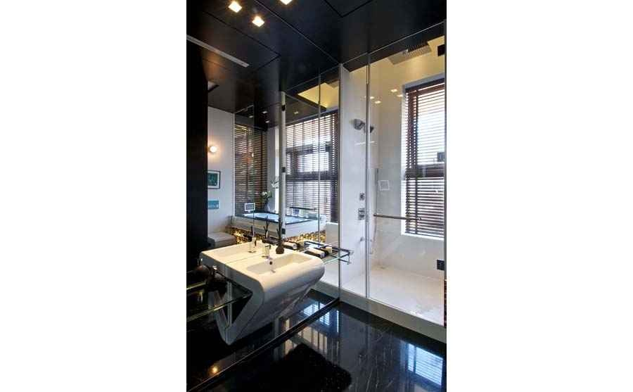 Master Bath with a large mirror