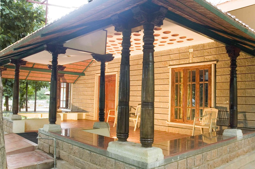 Vernacular, taditional verandah flanked by wooden columns
