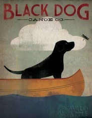 Black Dog Canoe Poster