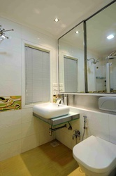 Small Bathroom with Wooden Flooring