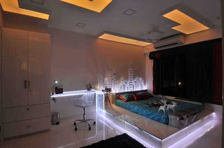 Modern Bedroom in White Neon Light