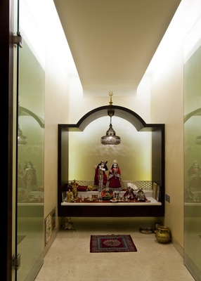 Glass pooja room designs pictures models glass mandir designs ideas for Design of mandir in living room