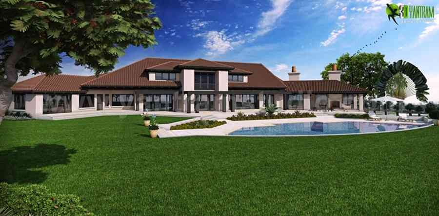 Dream House 3D Modeling Companies Back View for your USA Property