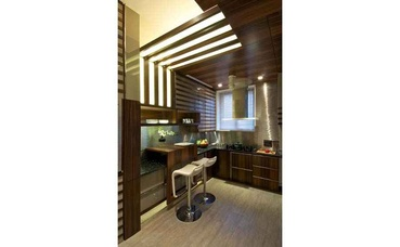 Modern Kitchen with False Wooden Ceiling
