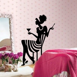 Wine And Woman Wall Decal ( KC089 )