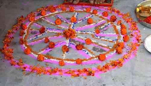 Flower Rangoli home decor.