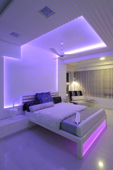Lavender Light in Modern Bedroom