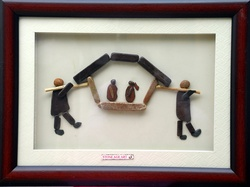 Natural Pebble Stone Art – Marriage Gift