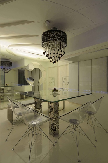 Modern White Dining Room with Crystal Chandelier