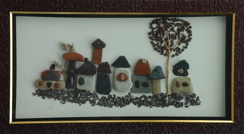 Natural Pebble Stone Art – Different Type of Huts