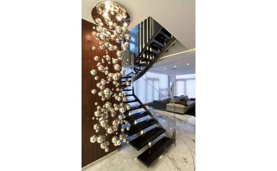 Ball Hanging Lights near the Staircase