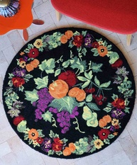 Basket - Multi-colored, Floral Design Rugs
