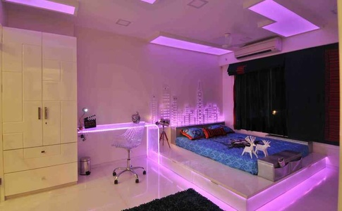 Bedroom in Pink Neon Light