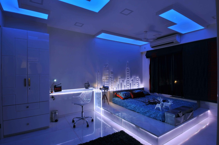 Bedroom in Neon Light and Blue Light