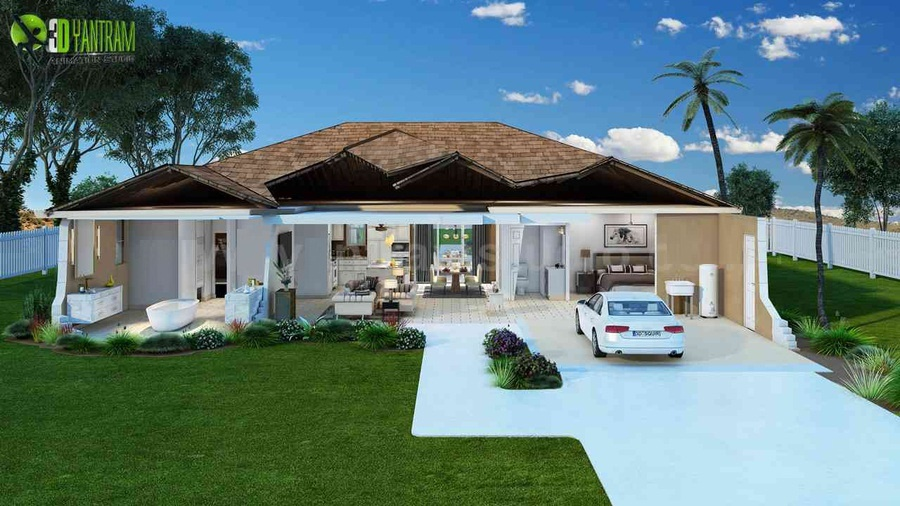 House Cut Section Exterior Rendering Features Landscape Home Roof Ceiling Interior