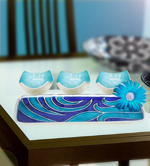 Buy Abstract Rectangle Tray with Three Bowls (Blue)