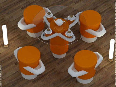 Coffee table + stools --orange petals