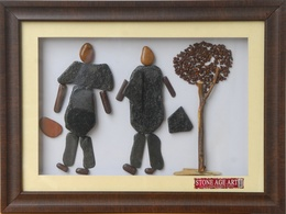Beautiful Couples  - Natural Pebble Stone Art