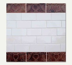 Azul Seires Subway White With Border Chelsea Brown