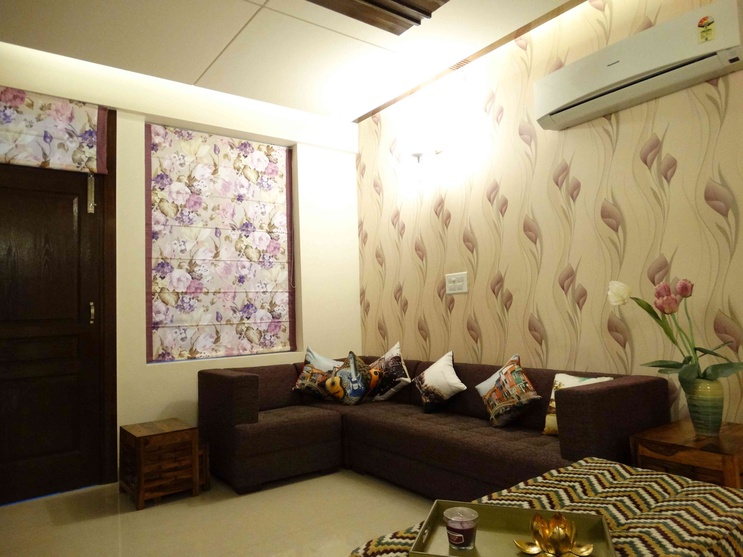 Interiors of a sample flat by kirat dhillon architect in for Living room interiors for small flat