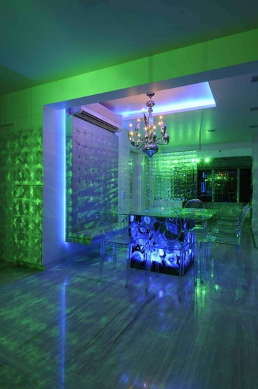 Dining Area in Green and Blue Light