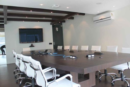 Conference Room with White Chairs